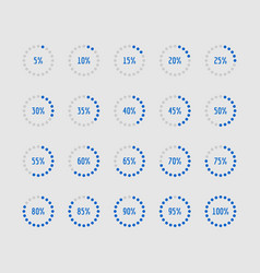 pie charts circle percentage diagrams of loading vector image vector image