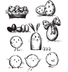 Selection of Easter drawings vector image