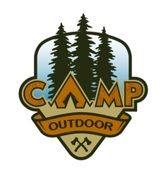 The camp outdoors hiking and traveling vector image