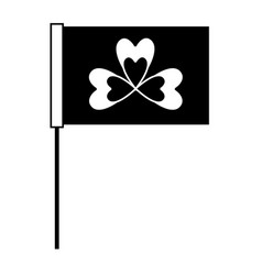 black and white flag with clover symbol vector image