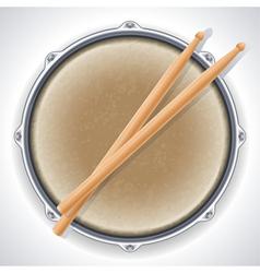 drum and drumsticks vector image