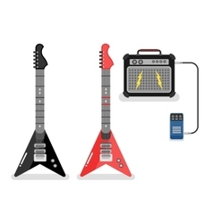 Guitar and amplifier vector image vector image