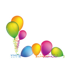 multicolored set flying balloons with serpentine vector image vector image