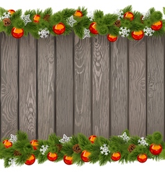 Seamless Christmas Old Board with Red Balls vector image vector image