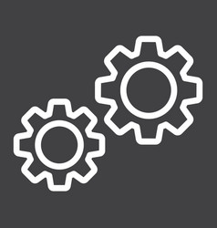 Settings line icon cogwheels and website vector