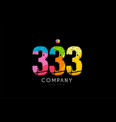 333 number grunge color rainbow numeral digit logo vector image