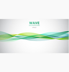 abstract smooth green waves lines design on white vector image