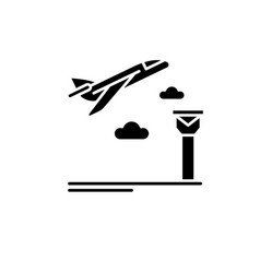 airport black icon sign on isolated vector image