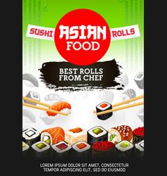 Asian sushi food japanese cuisine rolls and maki vector