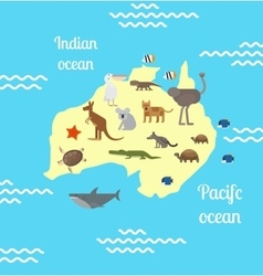 Australia animals world map for children vector image