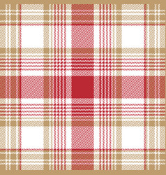 beige red white check plaid seamless pattern vector image