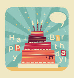 birthday sweet cakeretro card on old paper backgro vector image