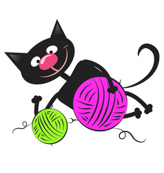 black cat with a ball wool vector image