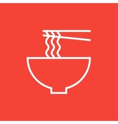 Bowl of noodles with pair chopsticks line icon vector image