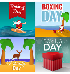 boxing day banner set cartoon style vector image