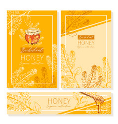 Buckwheat honey print template yellow and orange vector