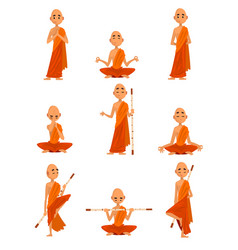 buddhist monks cartoon characters in different vector image