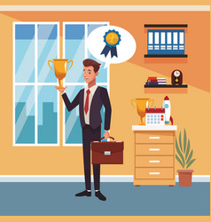businessman at office vector image