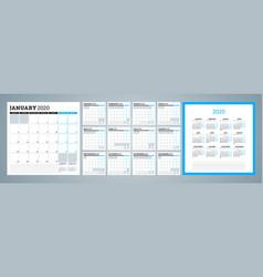 Calendar planner for 2020 year week starts on vector