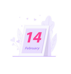 calendar sheet with event date 14th february vector image