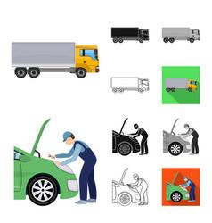 Car lift pump and other equipment cartoonblack vector