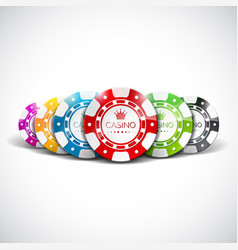 casino with color playing chips vector image vector image