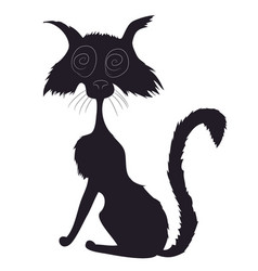 cat halloween drawing silhouette vector image
