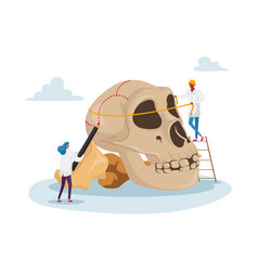 Characters study ancient anthropology tiny people vector