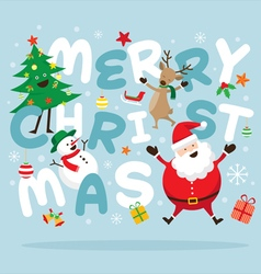 Christmas Santa Claus and Friends Lettering vector image