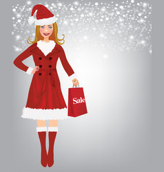 christmas woman holding a shopping bag vector image