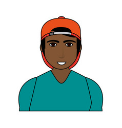 Color image cartoon half body brunette man with vector