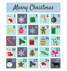 Colorful mery chistmas advent calendar on white vector