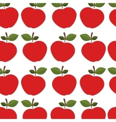 Colorful pattern of apples with stem and leafs vector