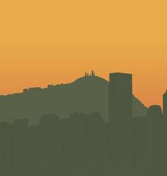 Contour of the big city on an ocean coast vector image
