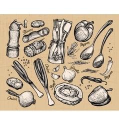 Cooking food set of elements for restaurant menu vector