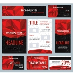 Corporate identity red polygonal banners and vector