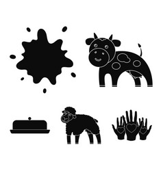 cow sheep a drop of milk butter milk set vector image