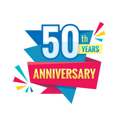 Creative emblem 50 th years anniversary fifty vector