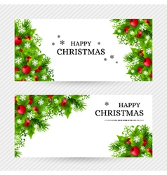 Cristmas holly fir banners 24 vector