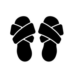 Cross band slippers black glyph icon vector