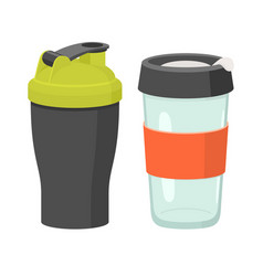 cups and drink glasses icon set vector image