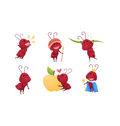 Cute ant character embracing huge apple vector