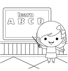 Cute girl teaching alphabet coloring book vector