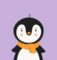 Cute penguin in scarf poster for baby room vector
