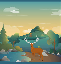 Deer on the forest background vector