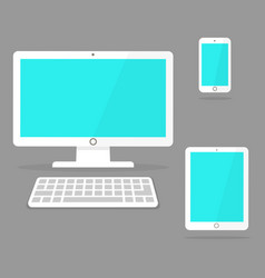 devices icon white laptop tablet and smart phone vector image