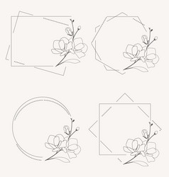 Doodle line art magnolia blooming flower minimal vector