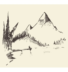 Drawn landscape mountain lake fir forest vector