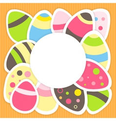 Easter eggs pattern on a orange vector
