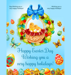 easter spring holiday egg hunt celebration poster vector image